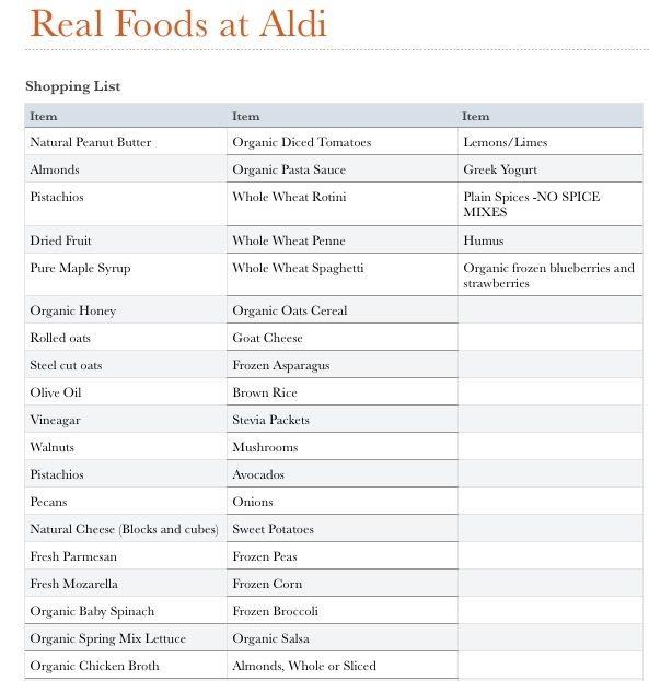 List Of Organic Foods At Aldi