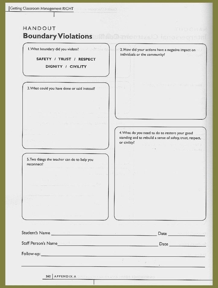 Relationship Boundaries Worksheet | Worksheets - Building Relationships in Secondary Classrooms: A ...