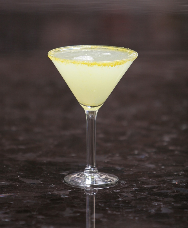 Lemon Head martini: Skyy Citrus Vodka, Tuaca Liqueur, lemonade and fresh lemon #martini #drink #recipe