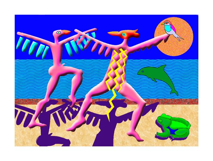 Julian VenterBird Dancers26 cm x 18 cmWhat would it be like if you saw two bird dancers romping on the beach.The one dancer offering up a bird gift.A dolphin dancing in the surf. A bull frog basking on the beach.A gritty summer sun shining gladly.Primitive archetypal surrealistic symbols and figures from the realm of the collective unconscious.The first drawings that I created with the computer were drawn very slowly and laboriously. While I figured out how Photoshop worked and also got…