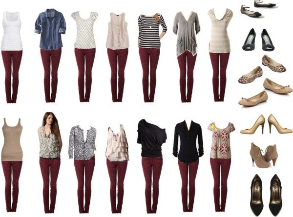 """Burgundy Jeans - Outfit Ideas"" by connie-nicole on Polyvore - Ideas para complementar un Jean"