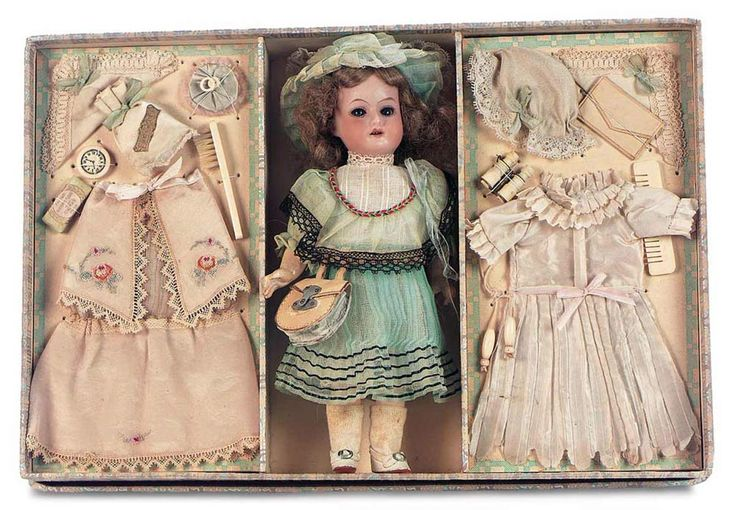 theriault's antique doll accessories   ... German Bisque Doll in Presentation Box with Costumes and Accessories