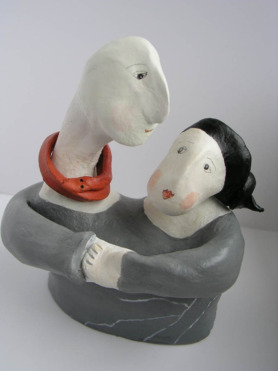 Clay Sculpture Couple Bust    Adam and Eve by jokamin on Etsy