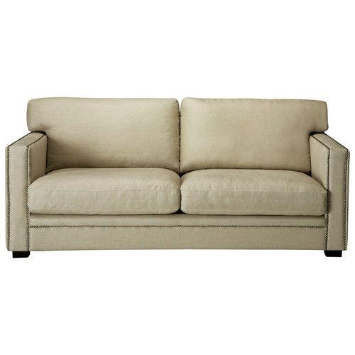 Divano beige-grigio chiaro in lino 3/4 posti