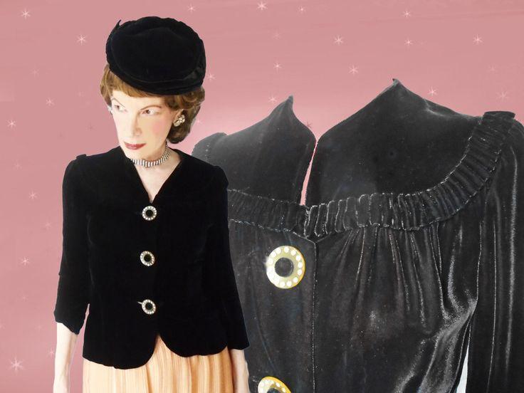 1940s Black Velvet Top - Womens Black Vintage Velvet Blouse - Rhinestone Buttons - Retro Velvet Evening Top - Wasp Waist - 40s Swing Era by LunaJunctionVintage on Etsy