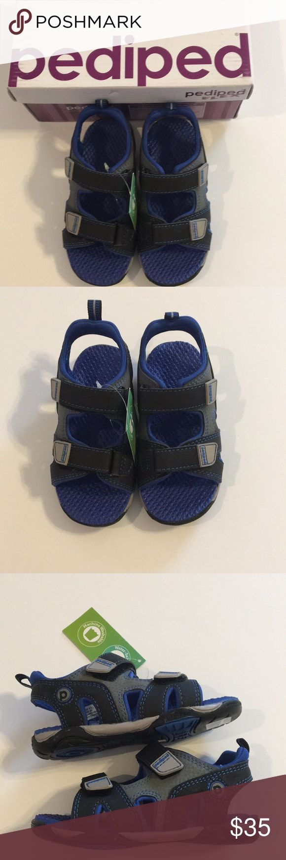 ⬇️NWT Pediped Navigator Sandals   NWT Toddler Boy Pediped Navigator Sandals.  These are waterproof sandals.  Perfect for the beach or pool.  In original box.  Blue, black and gray.  Pet free smoke free home. pediped Shoes Water Shoes