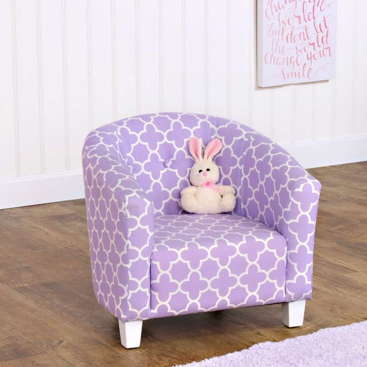 Fun accent chair for a child's room! On trend geometric quatrefoil pattern in soft lavender color. Miniature version of our best selling adult chair. White painted wood legs. Great for the bedroom, playroom or family room. Matching items available.