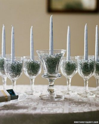 Build a luminous menorah throughout the eight nights of Hanukkah, using sherry glasses.