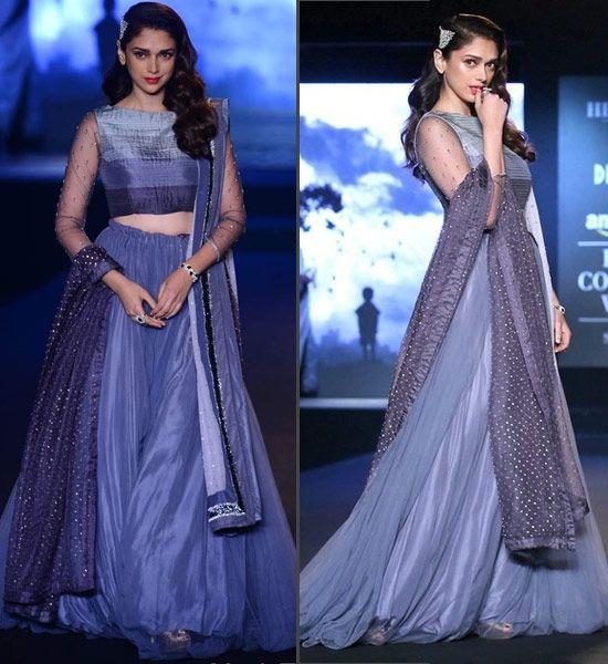 Actress Aditi Rao Hydari Gorgeous Appearance in Grey Color Net Plain Lehenga