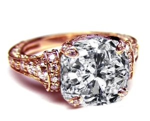 Pink gold Large Cushion Diamond Cathedral Graduated pave Engagement ring inspired by 1918 Cartier design