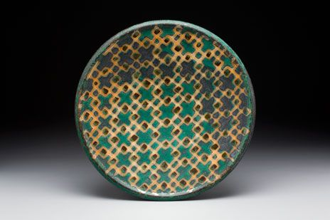 Wax resisted, patterned plate by Peter Karner.