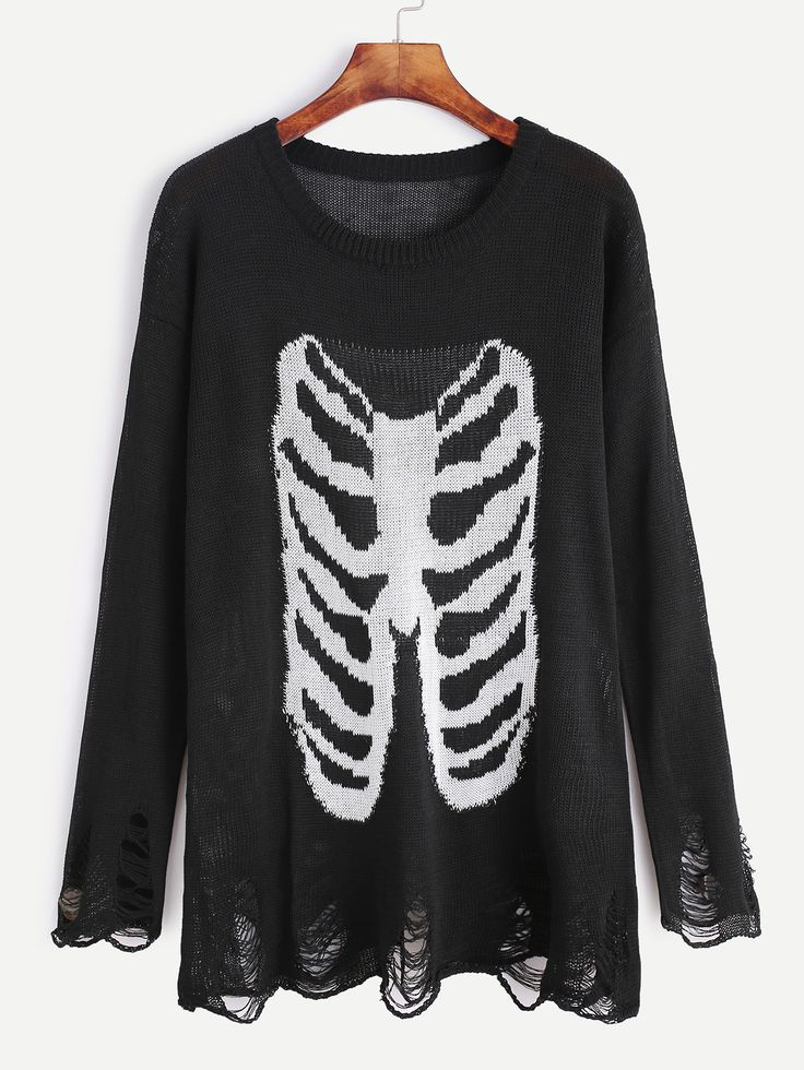 Black Drop Shoulder Bone Pattern Distressed Sweater