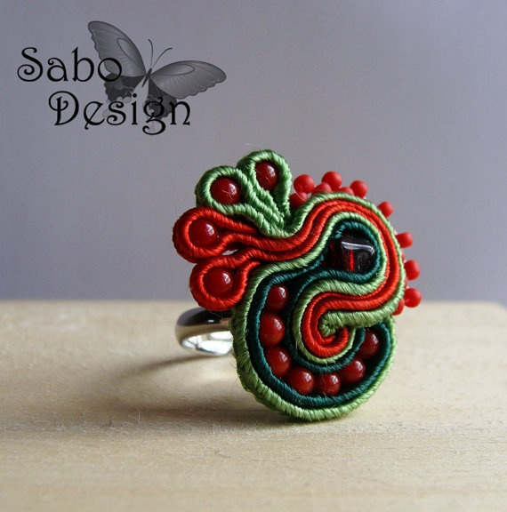 Ready To Ship  ROOSTER  soutache embroidery ring by SaboDesign.