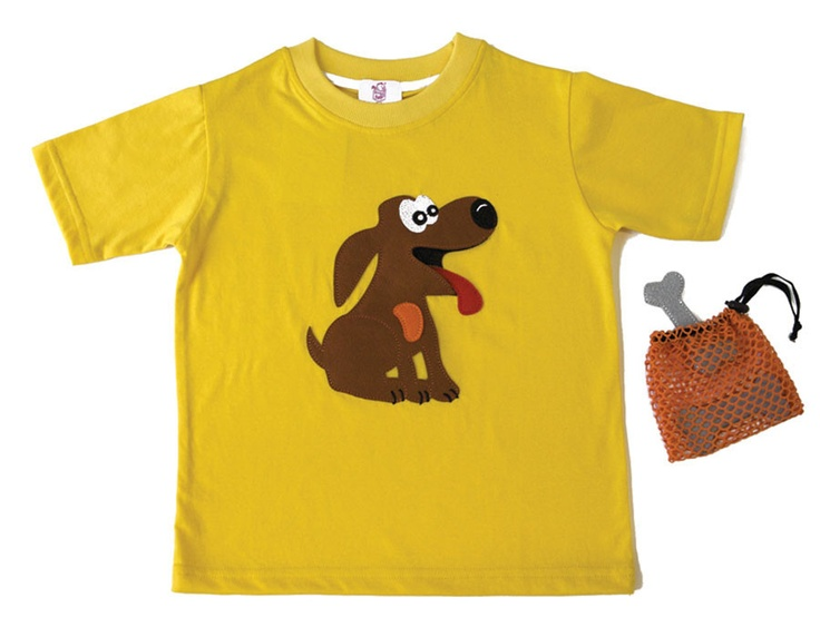 DOG T-SHIRT | CHILDREN Interactive t-shirt Your best friend is waiting for you to give him his favorite meal! (Includes bag with three bones. The frog is hollow in order to swallow them!) Sizes from 12 months to 6 years old.