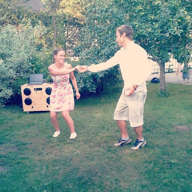 Garden swing party (at this point everyone was busy filling their plates at the buffet & these two were the only ones still dancing, way to go super dancers! #ritzlindyhoppers #lindyhop #swingdancers
