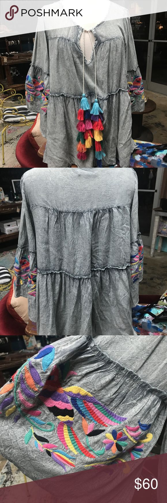 Judith March Boho Grey acid wash top L Beautifully detailed Judith March Acid Wash top with tassels and embroidered bell sleeves Judith March Tops Blouses