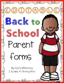 Adorable Back to School Parent Forms (Editable) Easy to print, student & parent survey, getting home, picture permission and more. $