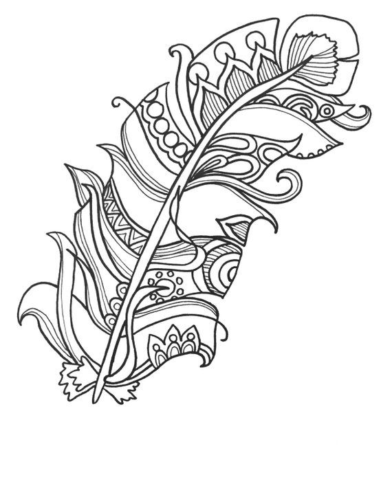 10 Fun and Funky Feather ColoringPages Original Art Coloring ...