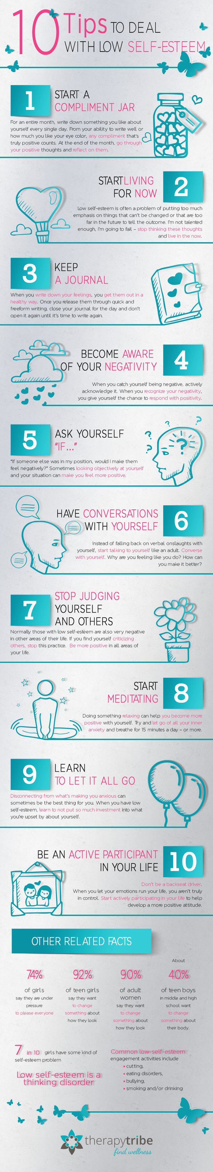 10 Steps To Improve Low Self-Esteem Infographic