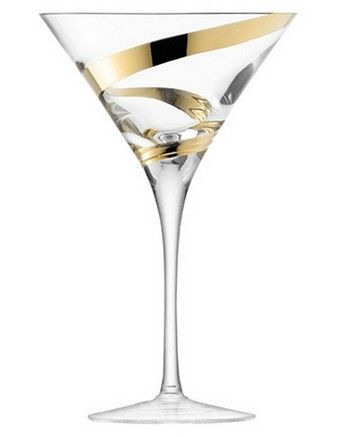 DREAMING - Malika Grand' Cocktail Glass 350ml Gold Spiral Set of 2