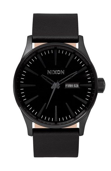 Free shipping and returns on Nixon 'The Sentry' Leather Strap Watch, 42mm at Nordstrom.com. Elongated indexes give a sleek, modern look to a dial with a retro day-and-date window in a round watch paired with a leather strap.