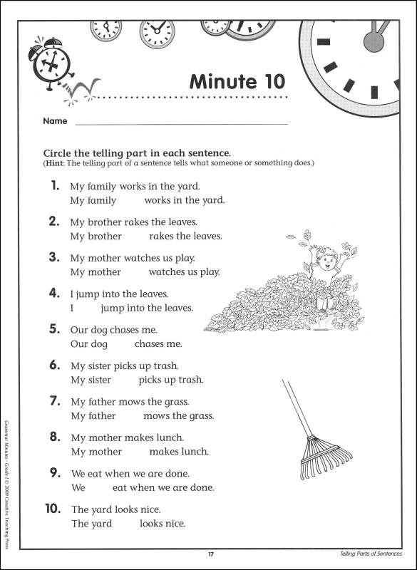 Grammar Worksheets Grade 1 Grammar Minutes Grade 1