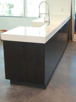 The Thickness** a white concrete countertop