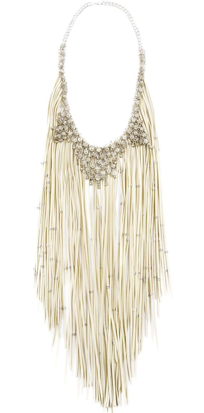 Silver sparkle & fringe necklace!
