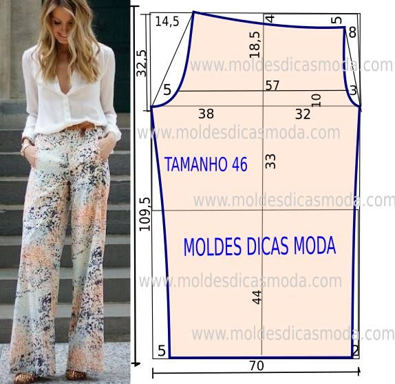 Step by step mold of pants with measures. Pants easy molding cut. Young and relaxed style.