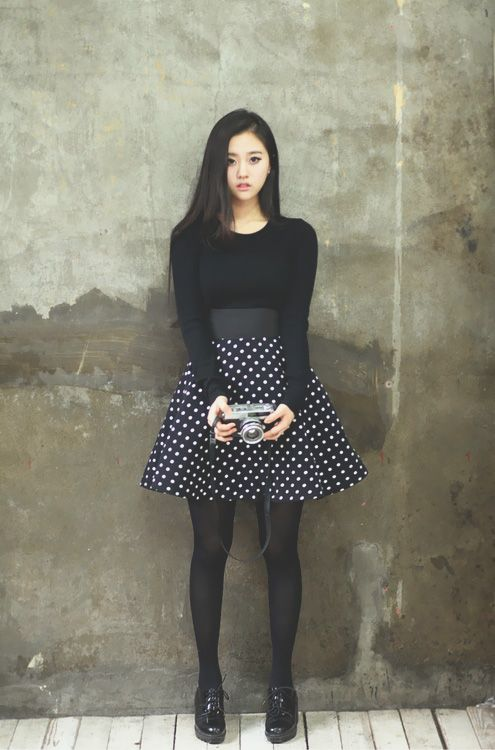 Korean fashion - black long sleeve, polka dot skirt, stockings and black shoes