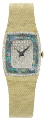 Señoras reloj Longines 14k oro Ópalo Esfera Diamantes