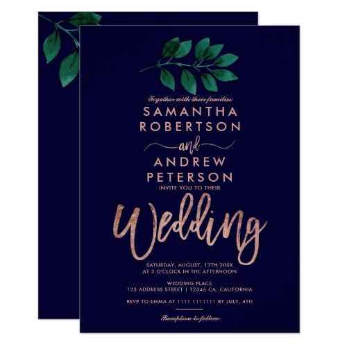Rose Gold Script Green Leaf Navy Blue Wedding Invitation Blue