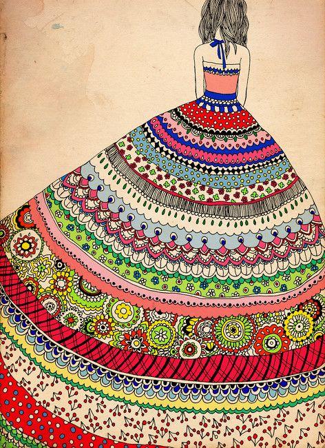 Creative colorful zentangle.
