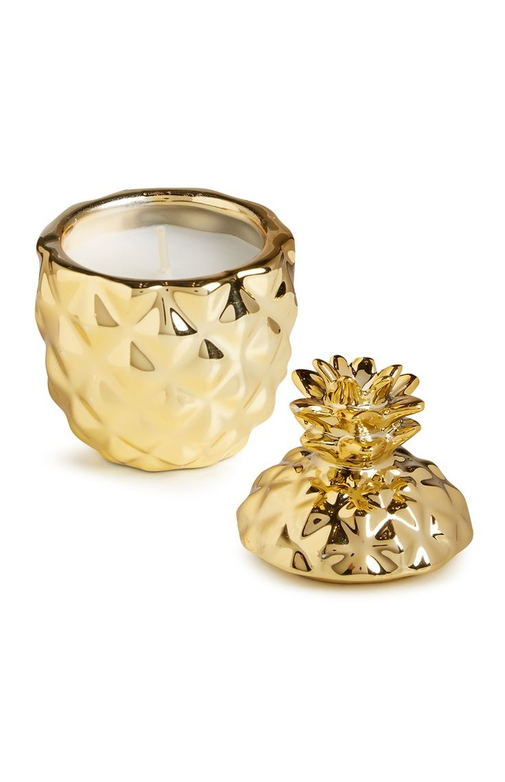Gold Pineapple Votive Candle