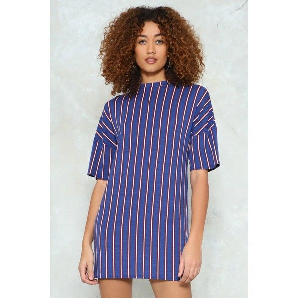 Nasty Gal You're Stripe On Time Mini Dress (€14) ❤ liked on Polyvore featuring dresses, navy, stripe dress, long-sleeve mini dress, striped dresses, mini dress and short blue dress