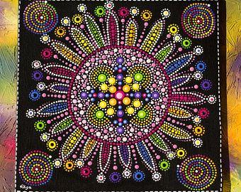 Punto de flor de arco iris de Mandala original pintura con Rainbow remolinos Junta de lona