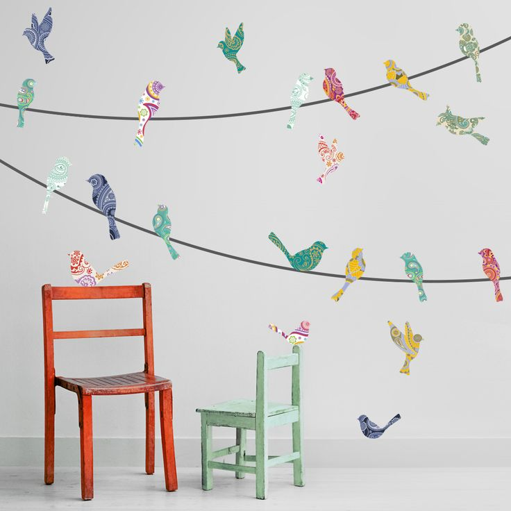 Adventurer: Bird on Wire Wall Decal Set | It may not be a highwire act, but this decal set does bring a dose of excitement (and color) to your walls.