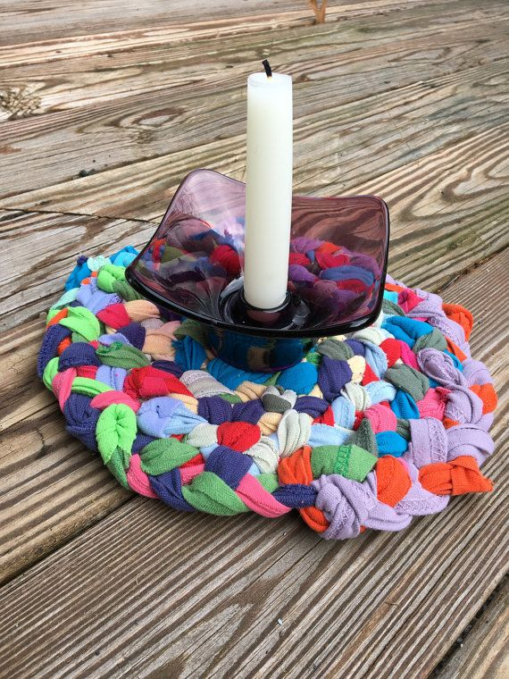 Funky, boho style rag rug trivet from upcycled cotton strips for the modern, eclectic home, in a rainbow of colors from Purple Basset https://www.etsy.com/listing/494170912/multi-colored-rag-rug-trivet-funky-boho