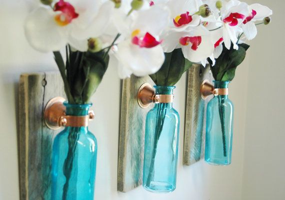 Colored glass bottle trio each mounted on recycled wood for Colored bottles for decorations