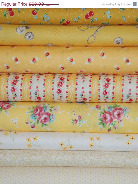 Yellow fat quarter bundle low volume white butter yellow quilt fabric