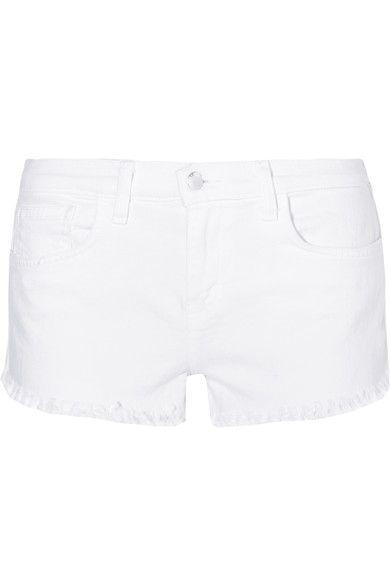 L'Agence - Zoe Frayed Stretch-denim Shorts - White - 31