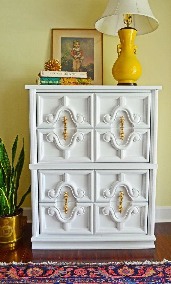 Stunning Hollywood Regency White Dresser with stunning