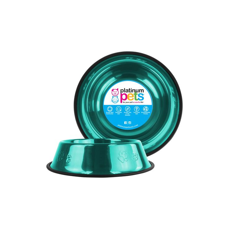 Platinum Pets Embossed Non-Tip Cat/Dog Bowl - Caribbean Teal - 10 Cup