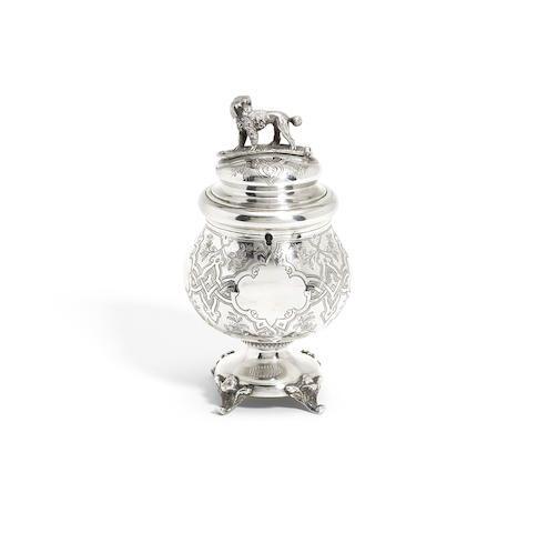 Russian silver money box /Nikolai Nikitin, St Petersburg 1867-Bonhams