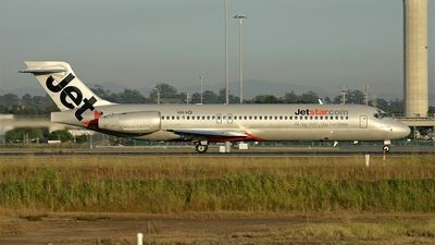 Jetstar Airways (JP) Historic fleet Boeing 717-200 VH-YQI aircraft, with the word ''JET'' first in the tail & the ''star'' underneath on the airframe, picking up speed in order to takeoff at Australia Brisbane International Airport. 05/03/2005.