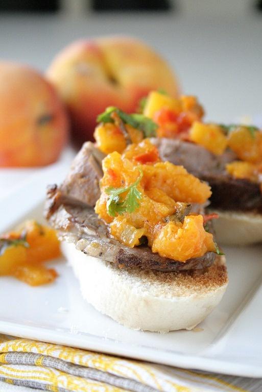 Tenderloin and pork belly crostini with peach mango compote ...