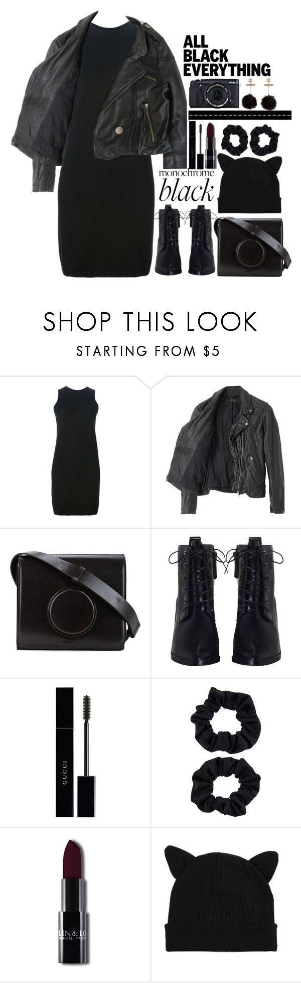 """""""Biker Girl"""" by lilitha-thando ❤ liked on Polyvore featuring Rick Owens, American Rag Cie, Lemaire, Zimmermann, Gucci, Accessorize, Hot Topic and Fujifilm"""