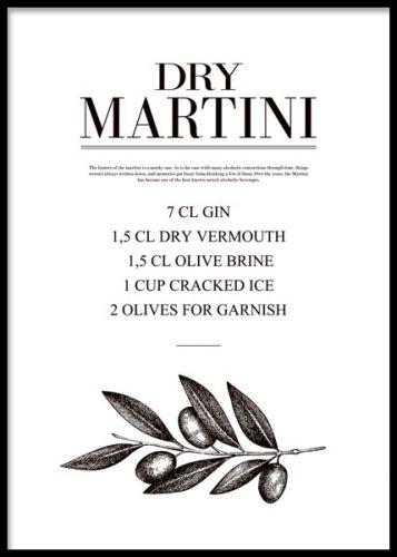 Kökstavla med recept på Dry Martini.