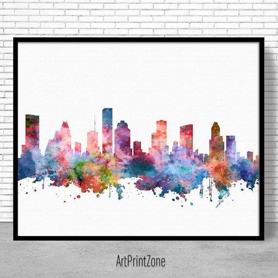 Houston skyline houston print houston texas office decor office art watercolor skyline watercolor city print artprintzone