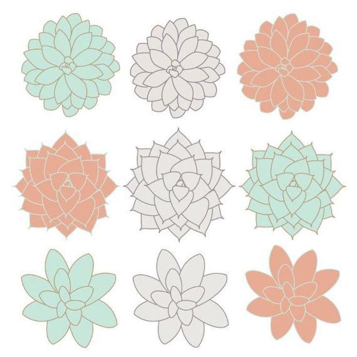 digital clip art succulents clipart flowers coral mint gray